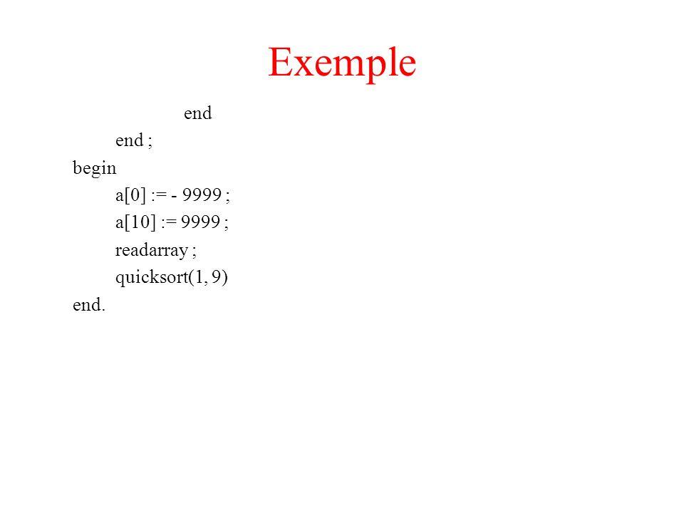 Exemple end end ; begin a[0] := - 9999 ; a[10] := 9999 ; readarray ;